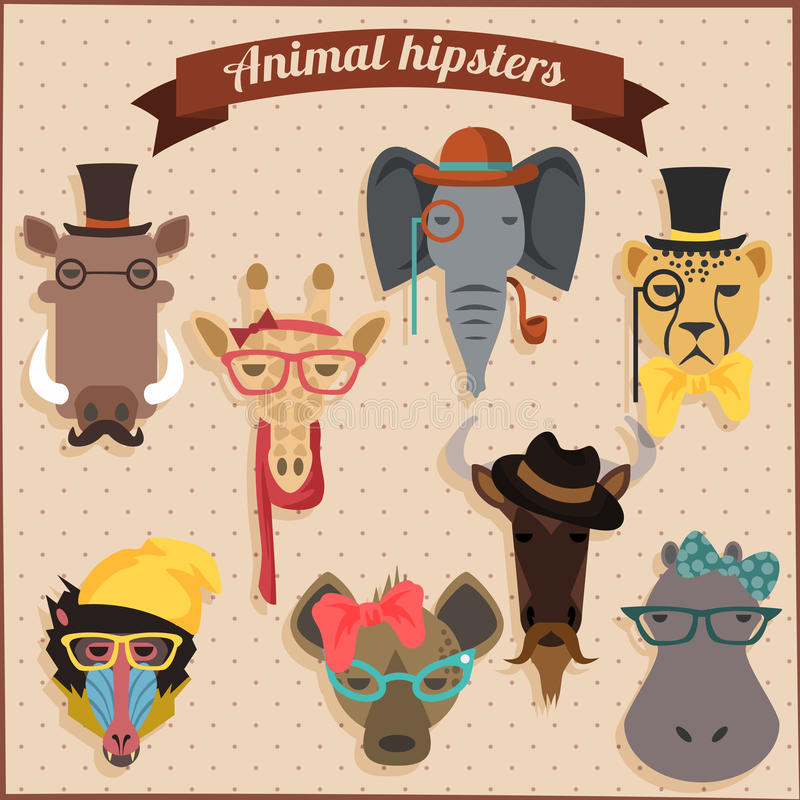 Free Cute Fashion Hipster African Animals Royalty Free Stock Photos - 43080048