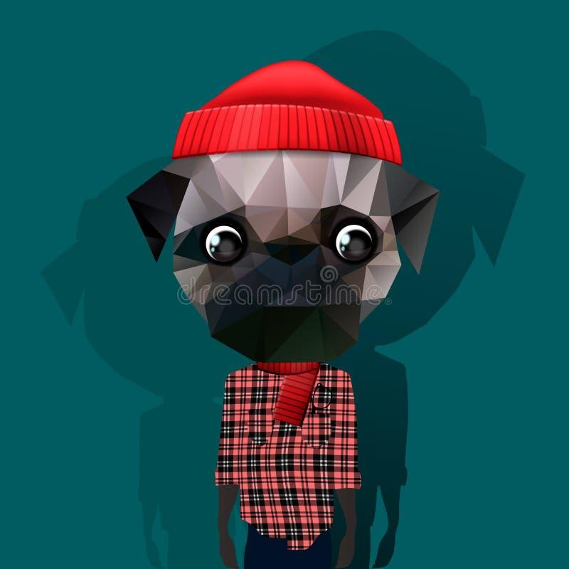 Cute fashion Hipster Animal stock illustration