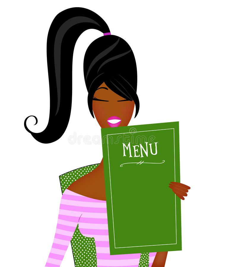 Cute Trendy Young Black Woman Reading a Restaurant Menu Isolated on White royalty free stock photography