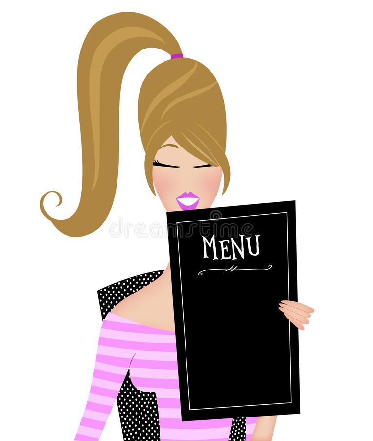 Cute Trendy Young Woman Reading a Restaurant Menu Isolated on White royalty free stock photo