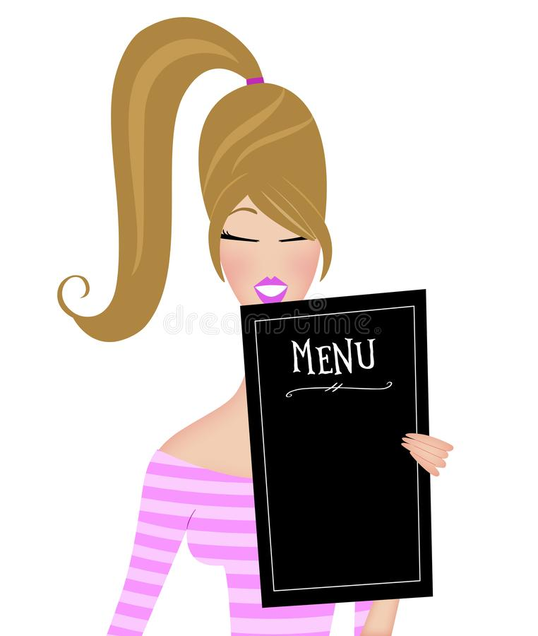Cute Trendy Young Woman Reading a Restaurant Menu Isolated on White stock images
