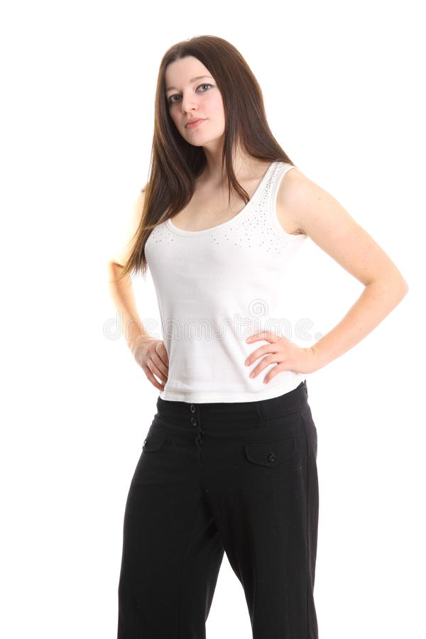 Cute fashion model in white shirt