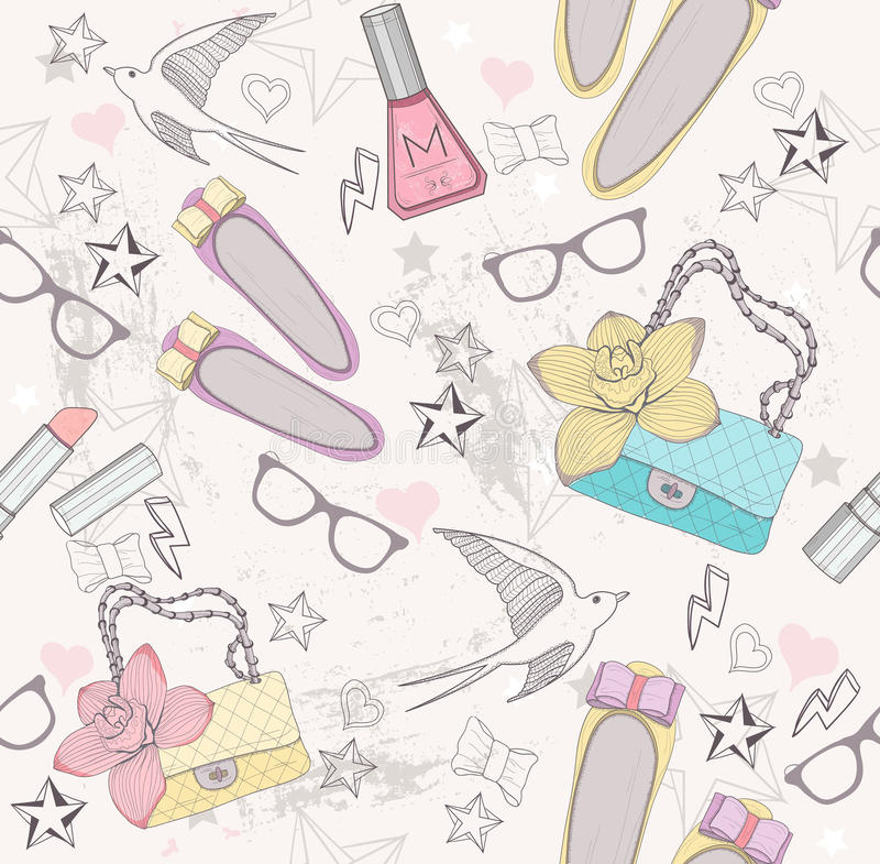 Free Cute Fashion Seamless Pattern For Girls Royalty Free Stock Images - 25223569