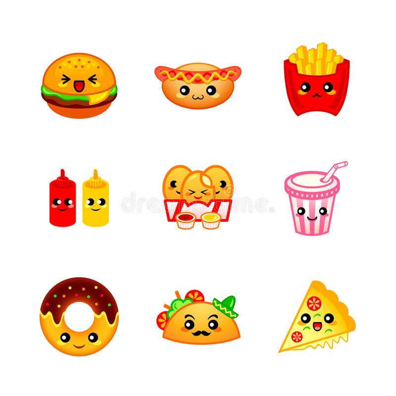 Cute fast-food icons royalty free illustration