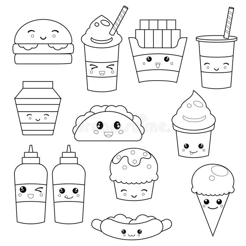 Cute fast food meals stock vector