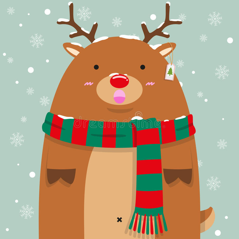 Cute fat big reindeer Rudolf royalty free illustration
