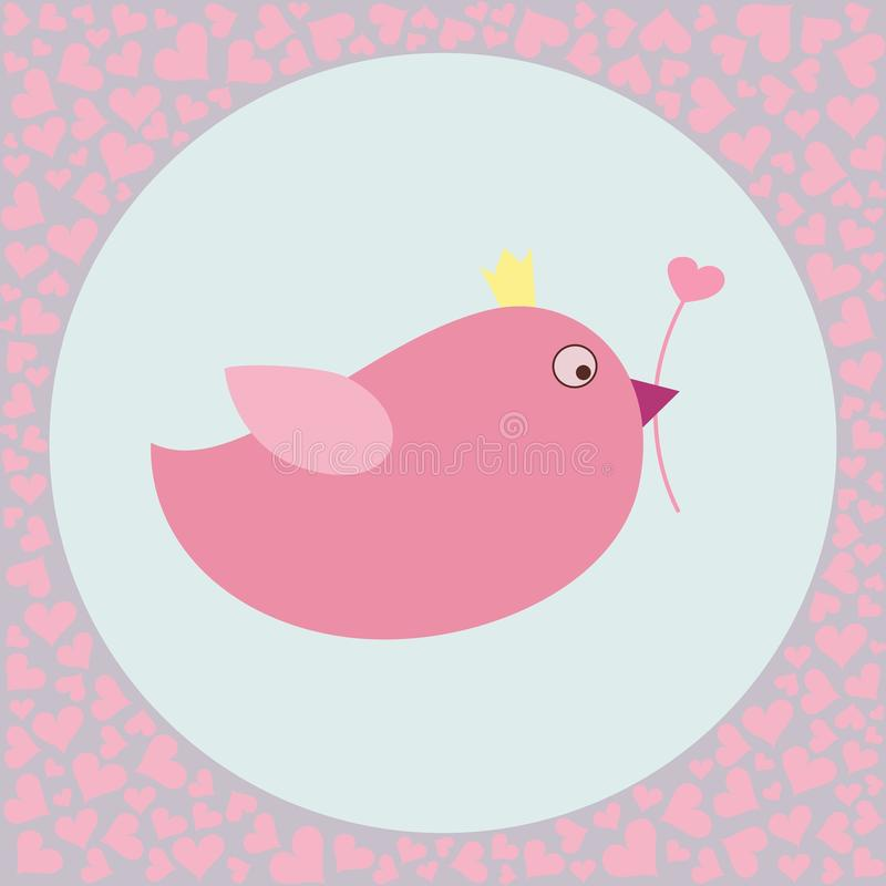 Cute fat bird with valentines hearts royalty free stock photos