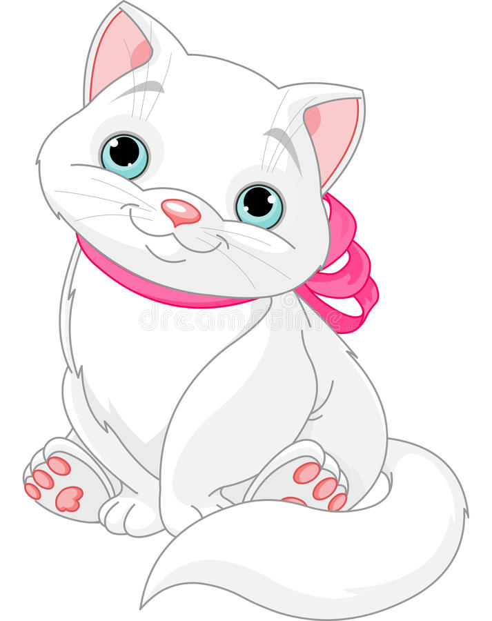 Cute fat cat. Illustration of cute fat cat with pink bow