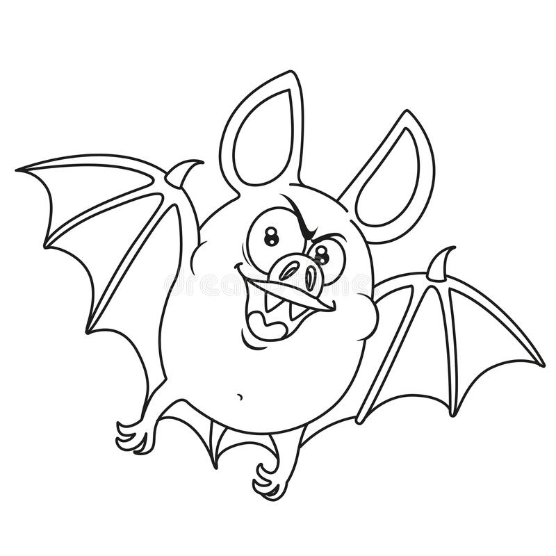 cute fat halloween bat flying outlined stock vector