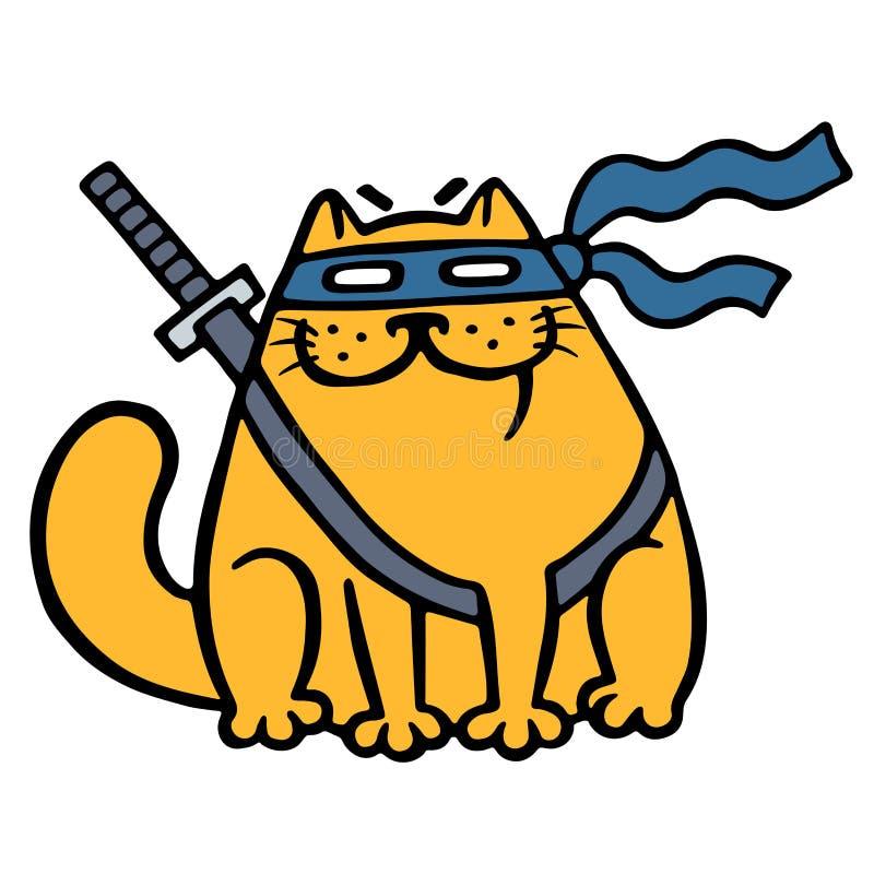 Cute Fat Ninja Cat In A Mask And A Sword. Vector ...