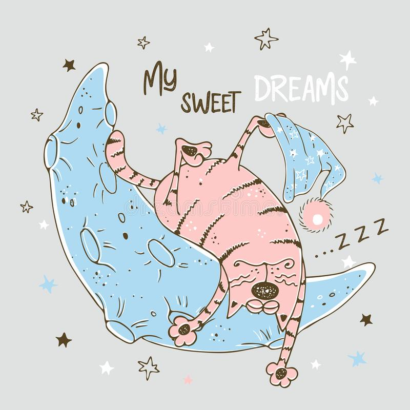 Cute fat pink cat sleeping sweetly on the moon. Vector royalty free illustration