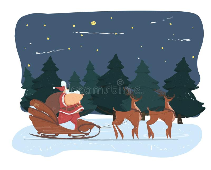 Cute Fat Santa Claus with Big Belly and Sack Sled. Cute Fat Santa Claus with Big Belly and Sack on Shoulder, Standing in Sledge Pulled with Reindeer Team on stock illustration