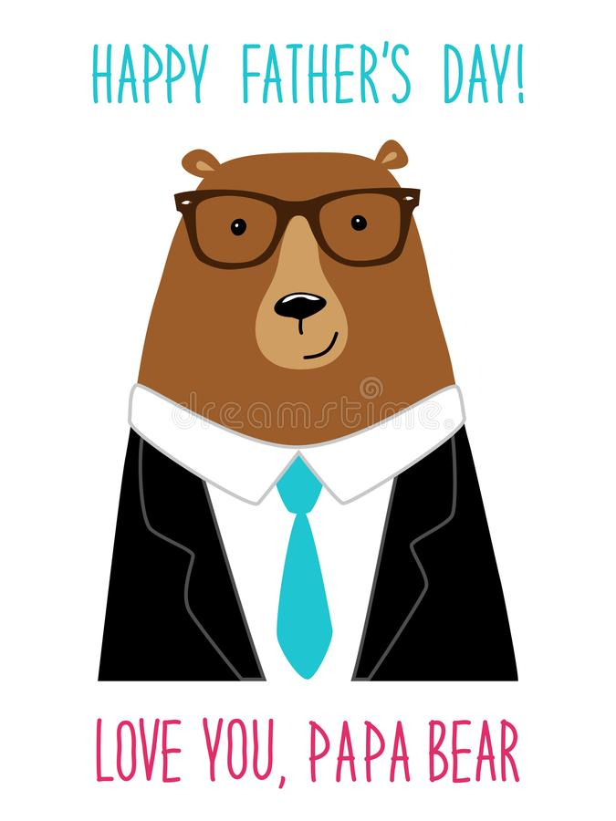 Cute Father`s Day card with funny Dad Bear. In costume and glasses royalty free illustration