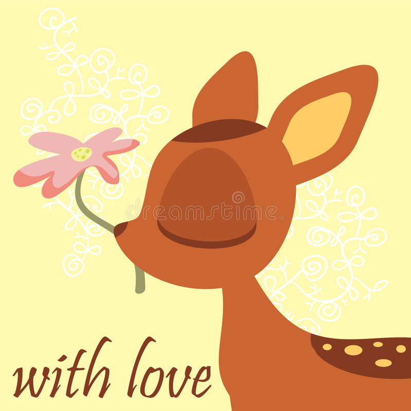 Cute fawn stock illustration