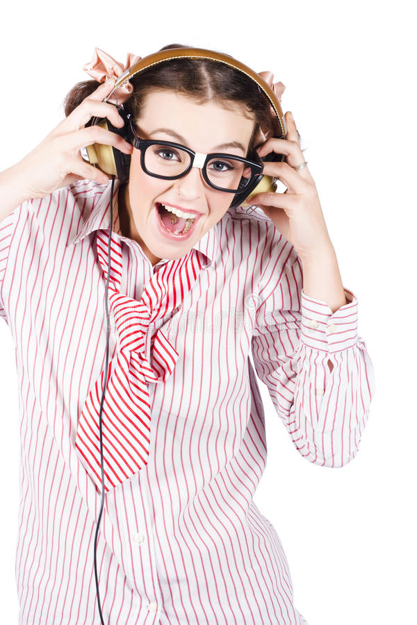Cute Female Business Nerd Singing With Headphones Royalty Free Stock Photography