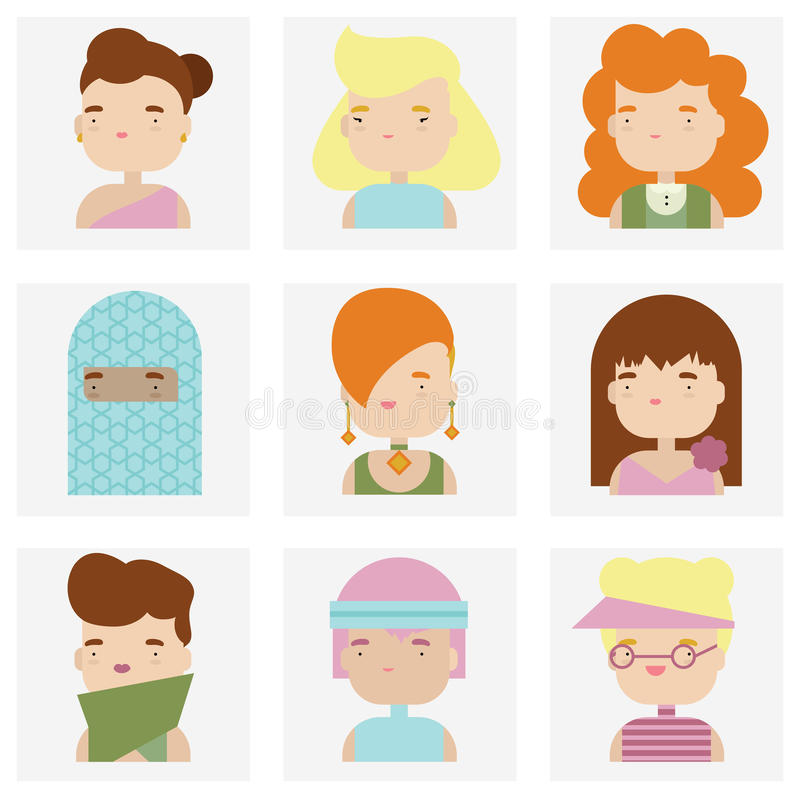 Cute female character faces flat icons vector illustration