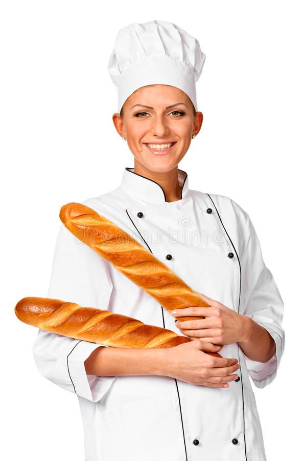 Cute female chef holding up Italian Bread. royalty free stock photo