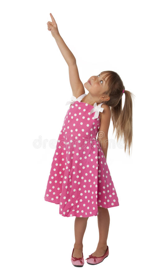 Download Cute Female Child Pointing Upward Stock Photo - Image of looking, tails: 16009000
