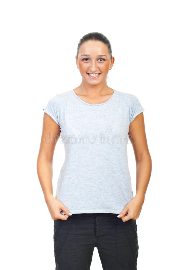Cute Female In Grey Cotton T-shirt Royalty Free Stock Photos