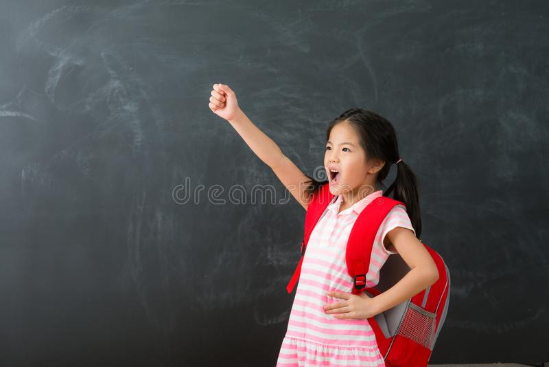 Cute female kid children ready back to school stock images