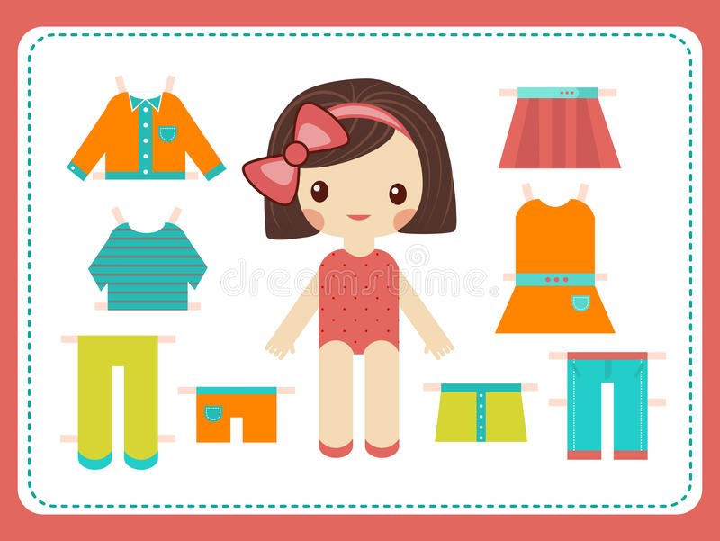 Cute female paper doll with the variety of bright colorful clothes. Girl vector illustration stock illustration
