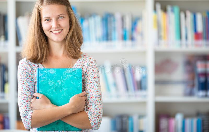 Cute female  student with books in library stock photography