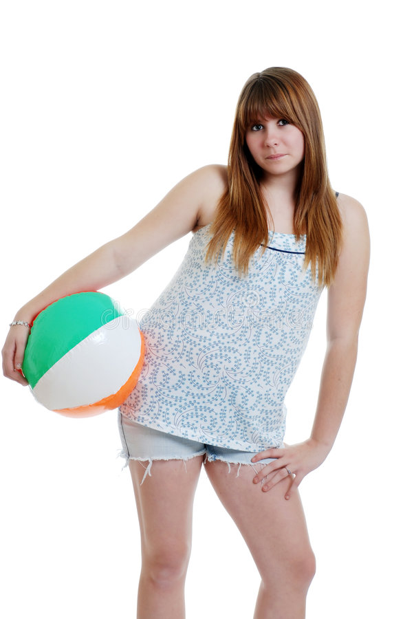 Download Cute Female Teenager With A Beach Ball Stock Photo - Image: 7449080