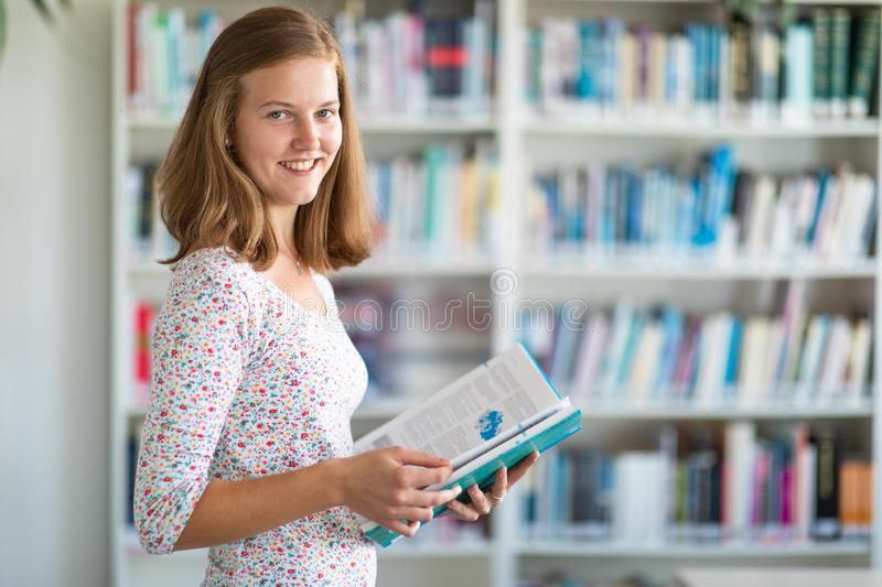 Cute female university/highschool student in library royalty free stock photography