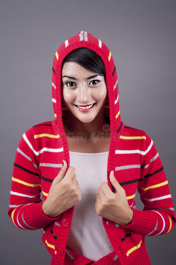 Download Cute Female Wearing Sweater Stock Image - Image of hispanic, background: 26367249