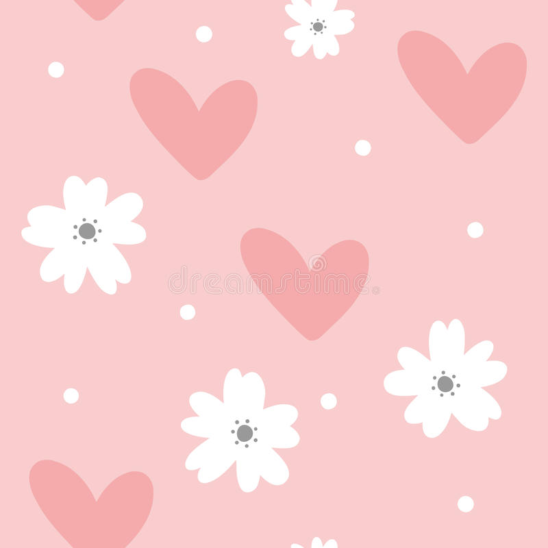 Cute feminine seamless pattern. Cartoon flowers, hearts and dots. Pastel colour. vector illustration