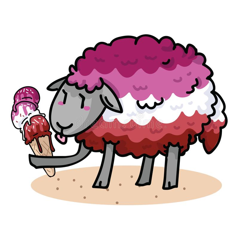 Free Cute Femme Lesbian Sheep With Tasty Ice Cream Cartoon Vector Illustration Motif Set. Hand Drawn Isolated Summer Treat Stock Photo - 155537910