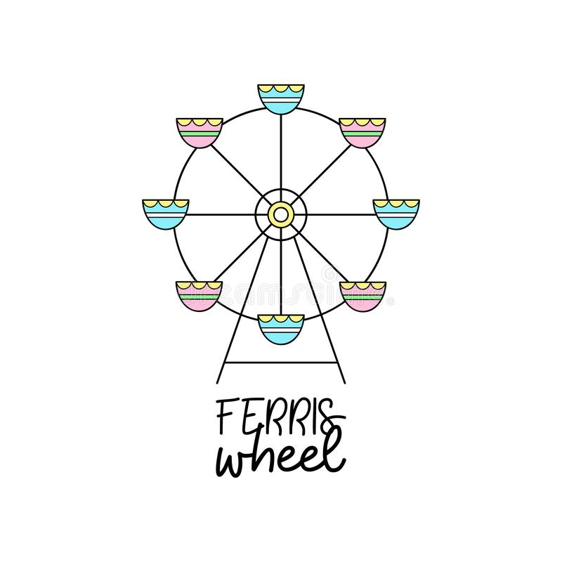 Cute funfair ferris wheel vector illustration stock illustration