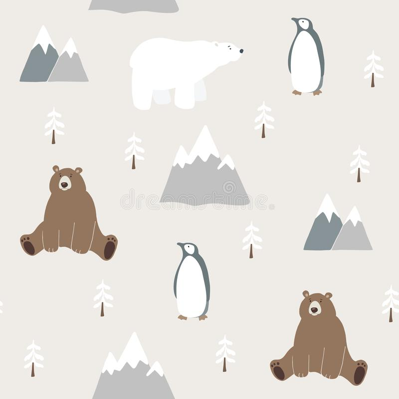 Cute festive Christmas seamless pattern with bear, polar bear, penguin, fir trees and mountains. Hand drawn kids nordic vector illustration