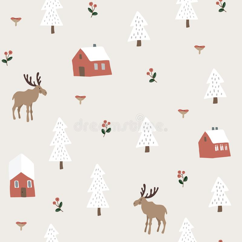 Cute festive Christmas seamless pattern with moose, red houses, snow fir trees and berries. Hand drawn kids nordic stock illustration