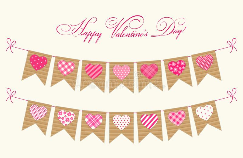 Cute festive retro bunting flags with different hearts. Ideal for Valentines day or as wedding decoration vector illustration