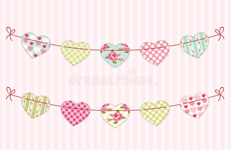 Cute festive retro bunting flags with different hearts. Ideal for Valentines day or as wedding decoration stock illustration
