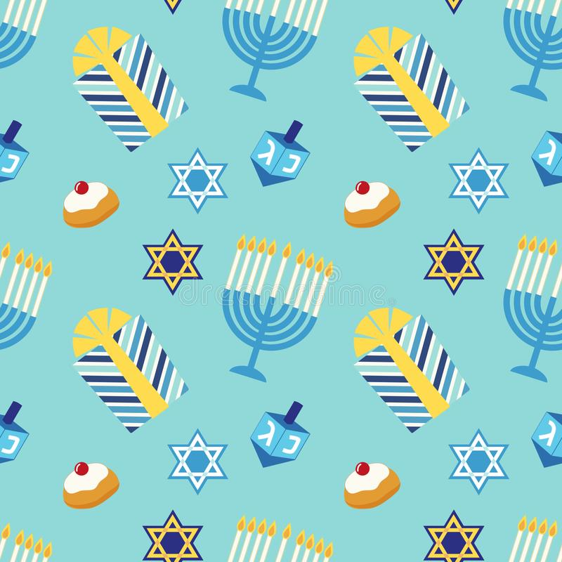Cute festive seamless pattern Happy Hanukkah in traditional colors vector illustration