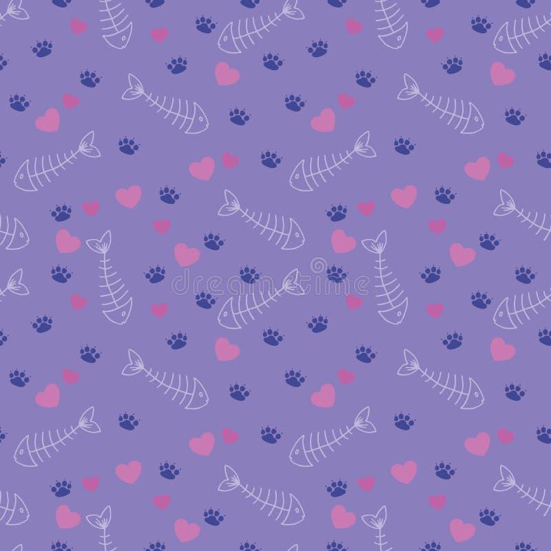 Cute fish bones and cat tracks pattern. Cute seamless pattern with cat tracks, fish bones and hearts stock illustration
