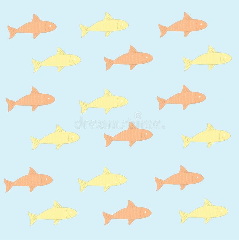 Cute fish cartoon seamless background. Hand drawn style.  vector illustration