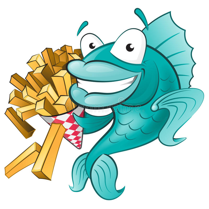 Cute Fish with Chips. Great illustration of a Cute Cartoon Cod Fish eating a tasty Traditional British portion of chips royalty free illustration