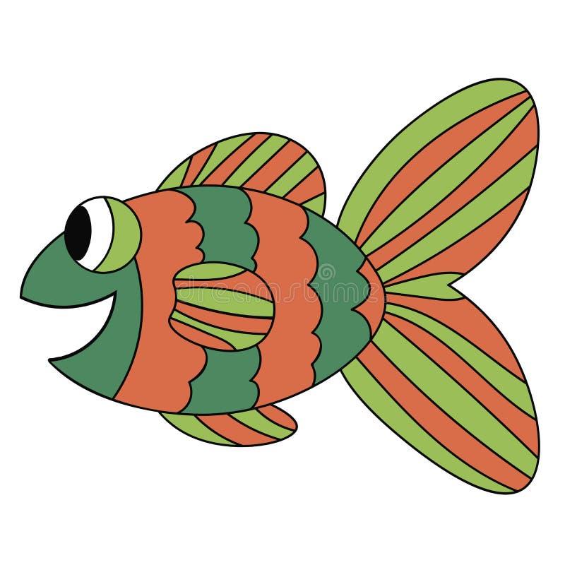 Colorful orange and green cute cartoon fish. Amazing ocean animal. Black outline. Hand drawn thin line tropical aquarium fish. vector illustration