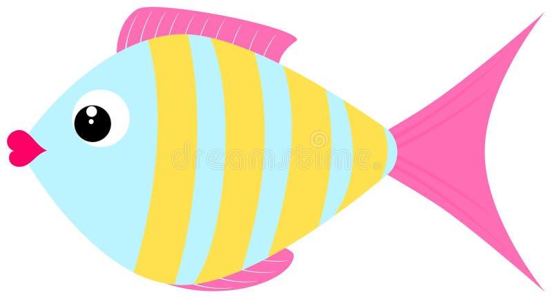 Cute fish icon. Cartoon flat style. Vector clipart. Illustration royalty free illustration