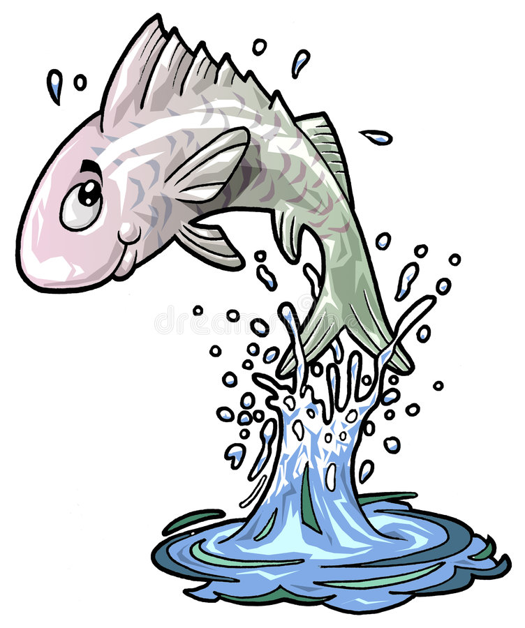 Cute fish jumping off the water stock image