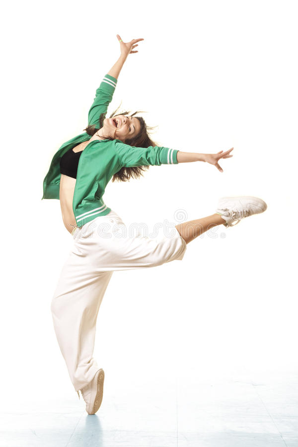 Cute fit girl jumping stock image