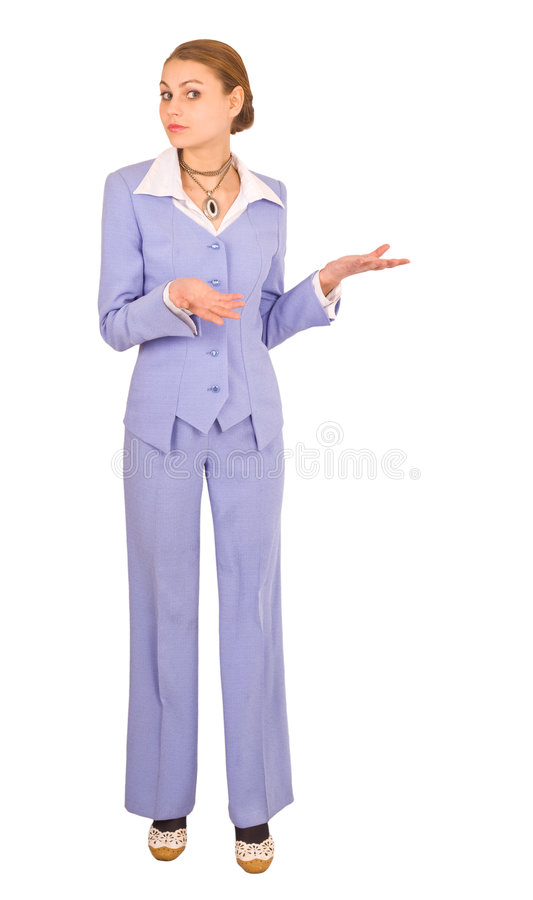 Cute fit woman wearing business suit royalty free stock photos