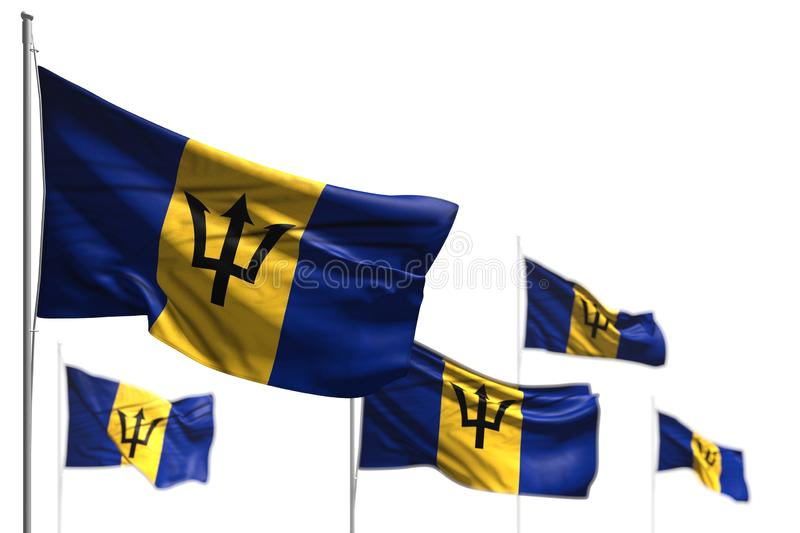 Cute five flags of Barbados are waving isolated on white - photo with selective focus - any feast flag 3d illustration. Wonderful labor day flag 3d illustration stock illustration