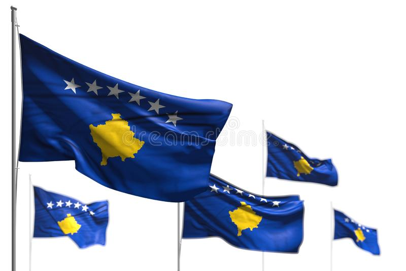 Cute any holiday flag 3d illustration - five flags of Kosovo are wave isolated on white - photo with selective focus. Cute five flags of Kosovo are wave isolated stock illustration