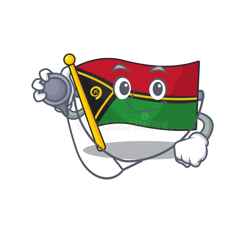 Cute flagga vanuatu Scroll cartoon-tecken i en läkare med verktyg royaltyfri illustrationer