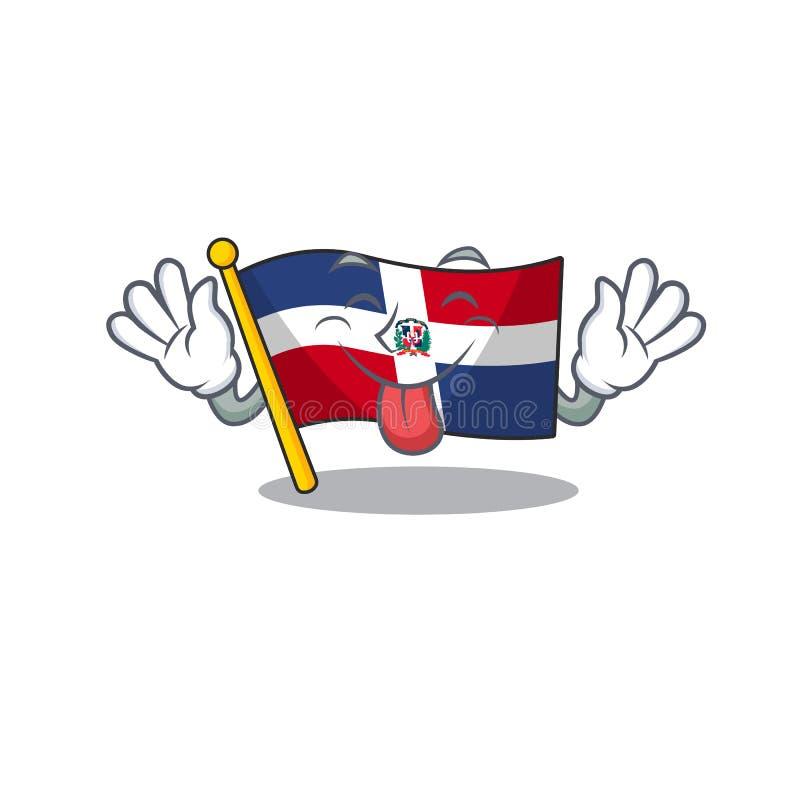 Cute-flaggans dominikan republika en seriemaskin stil med Tonout stock illustrationer