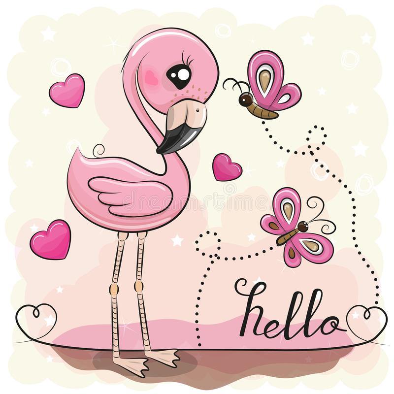 Cute Flamingo with hearts and butterflies. Cute Cartoon Flamingo with hearts and butterflies vector illustration